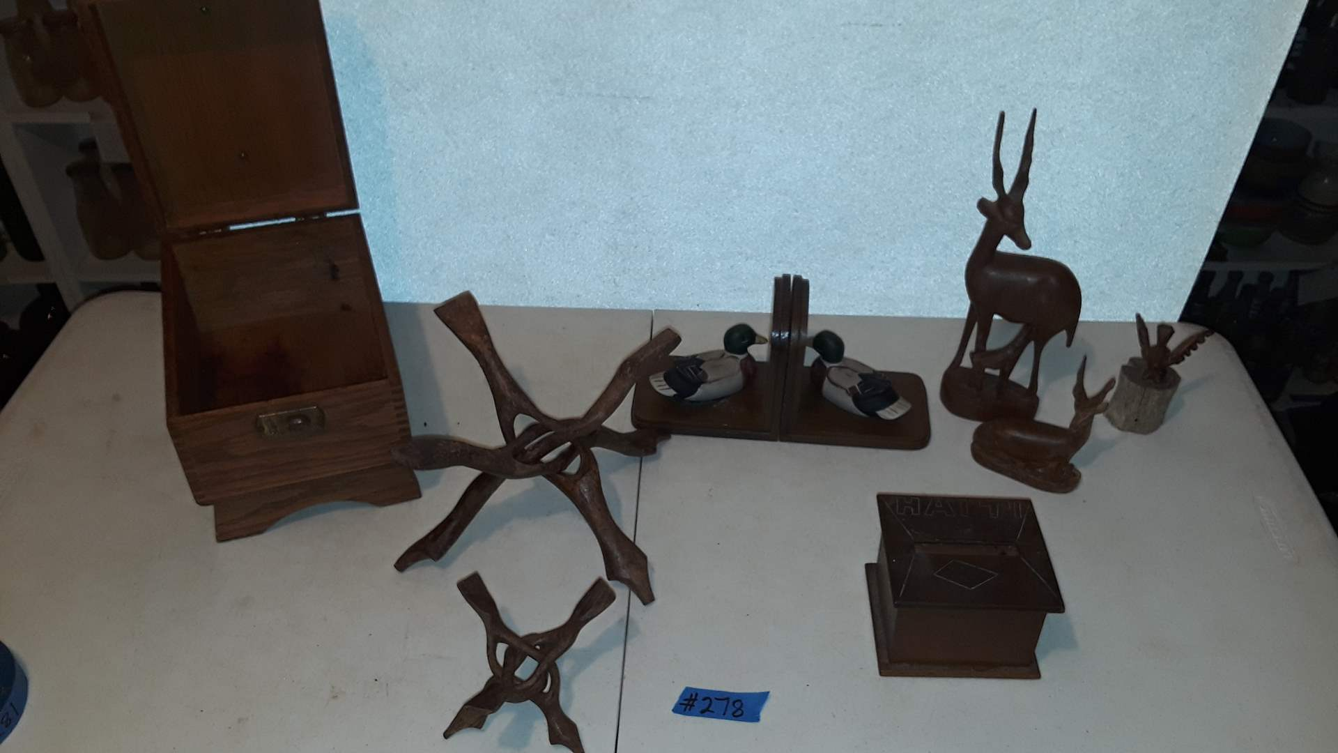 Lot # 278 HAND CARVED FOLDING WOOD STANDS, WOOD, WOODEN BOX, WOOD FIGURINES