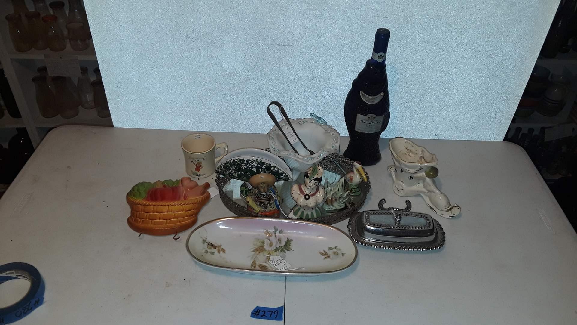 Lot # 279 PESCAVINO WINE BOTTLE, VINTAGE MIRROR AND FIGURINES