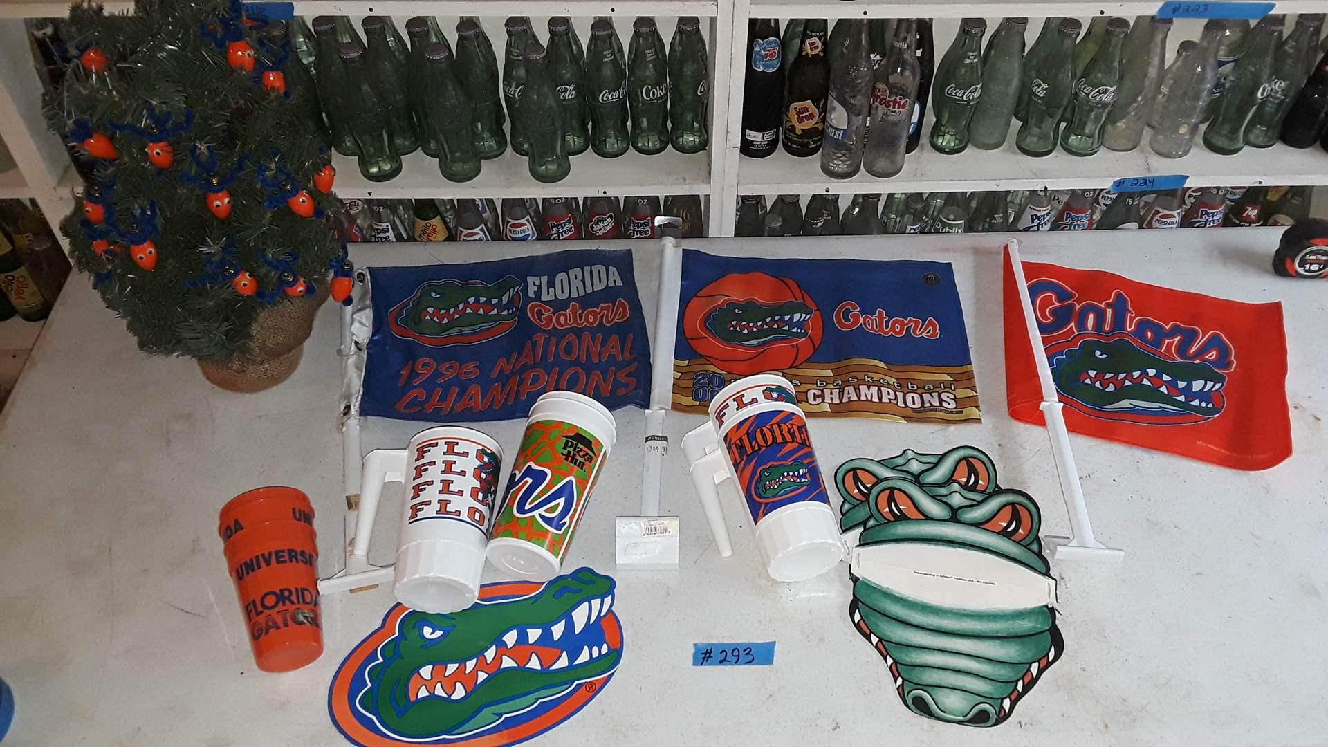 Lot # 293 FLORIDA GATORS CHRISTMAS TREE, FLAGS, COLLECTIBLES