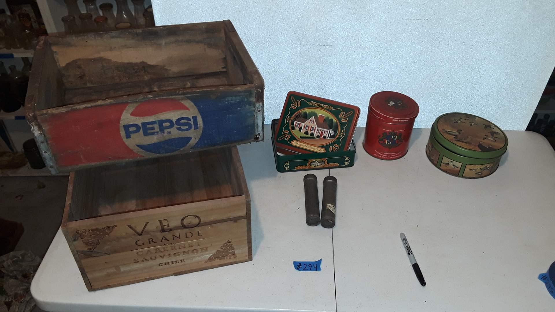 Lot # 294 VINTAGE PEPSI AND WINE WOOD CRATES, TINS