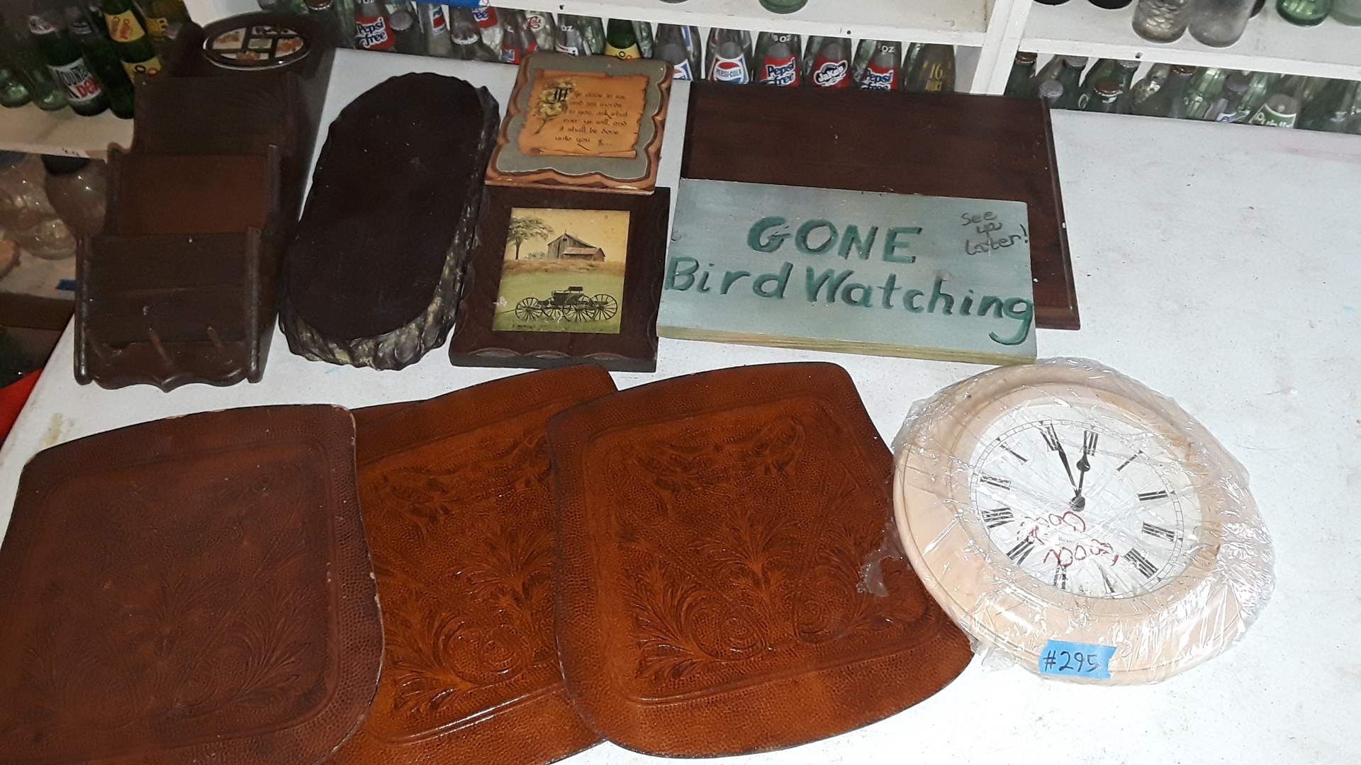 Lot # 295 HOUSEHOLD, DECORATIVE LEATHER, SIGNS, WOOD SHELF