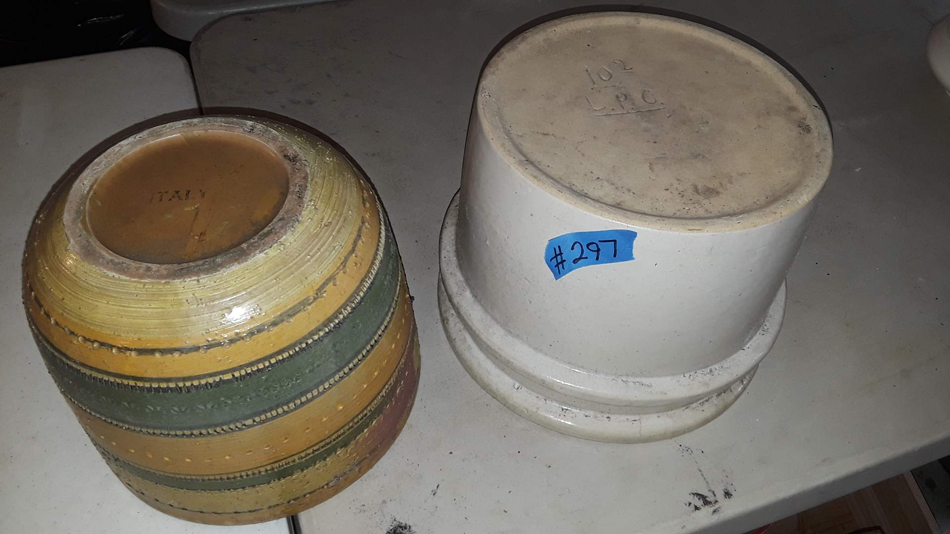 Lot # 297 HEAVY UNUSUAL CROCK SIGNED L.P.C. AND FLOWER POT ITALY