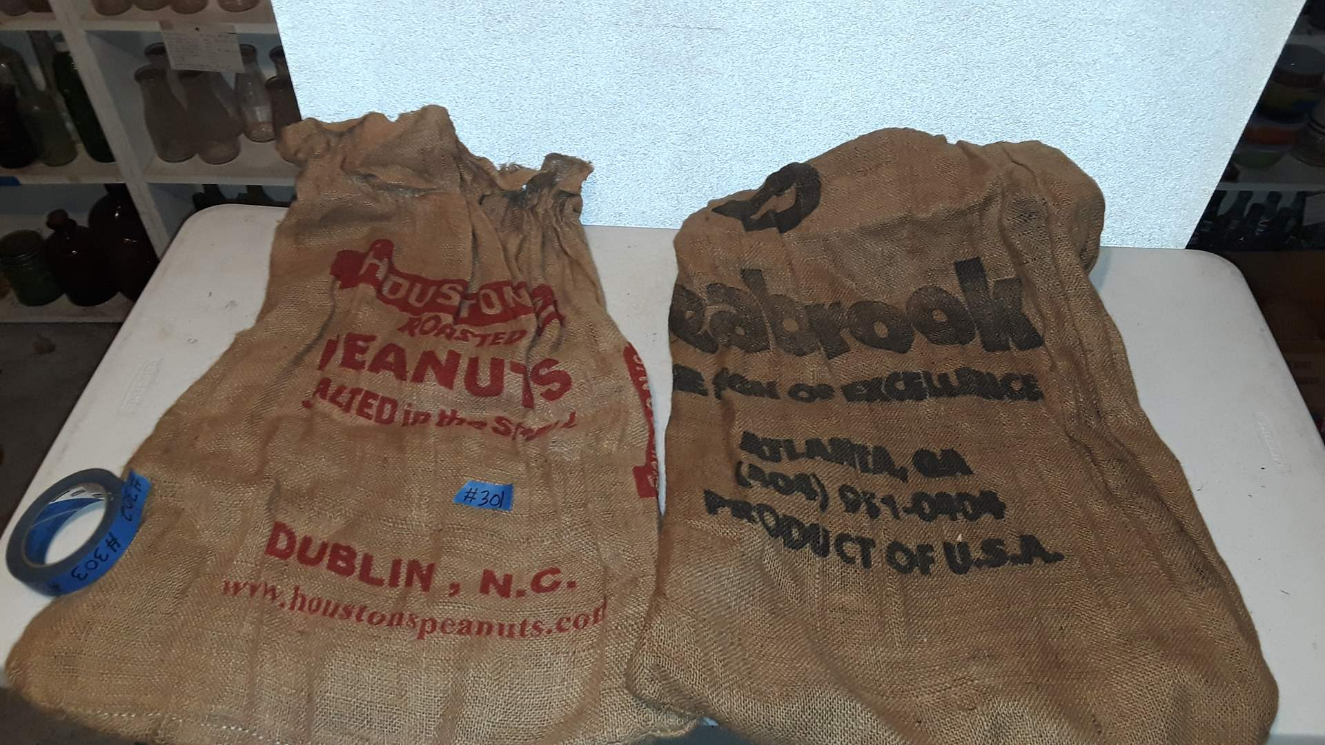 Lot # 301 HOUSTON'S ROASTED PEANUTS , DUBLIN, NC BURLAP SACK AND SEABROOK,  ATLANTA GA
