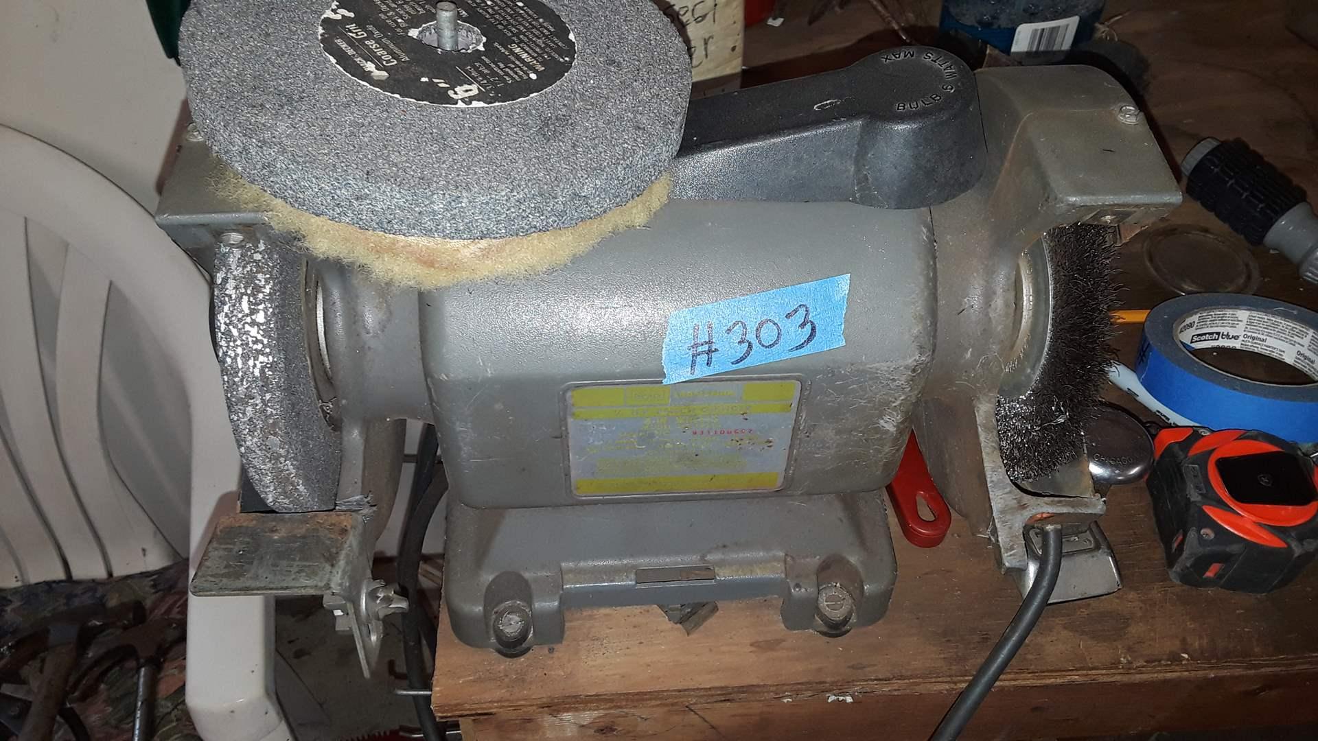 Lot # 303 VINTAGE CRAFTSMAN BENCH GRINDER, WORKS, MODEL 397