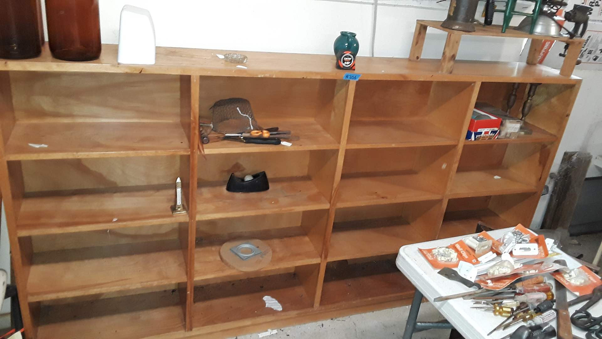 """Lot # 306 WOOD GARAGE SHELVING UNIT, 94"""" WIDE, 48"""" TALL AND 12"""" DEEP"""