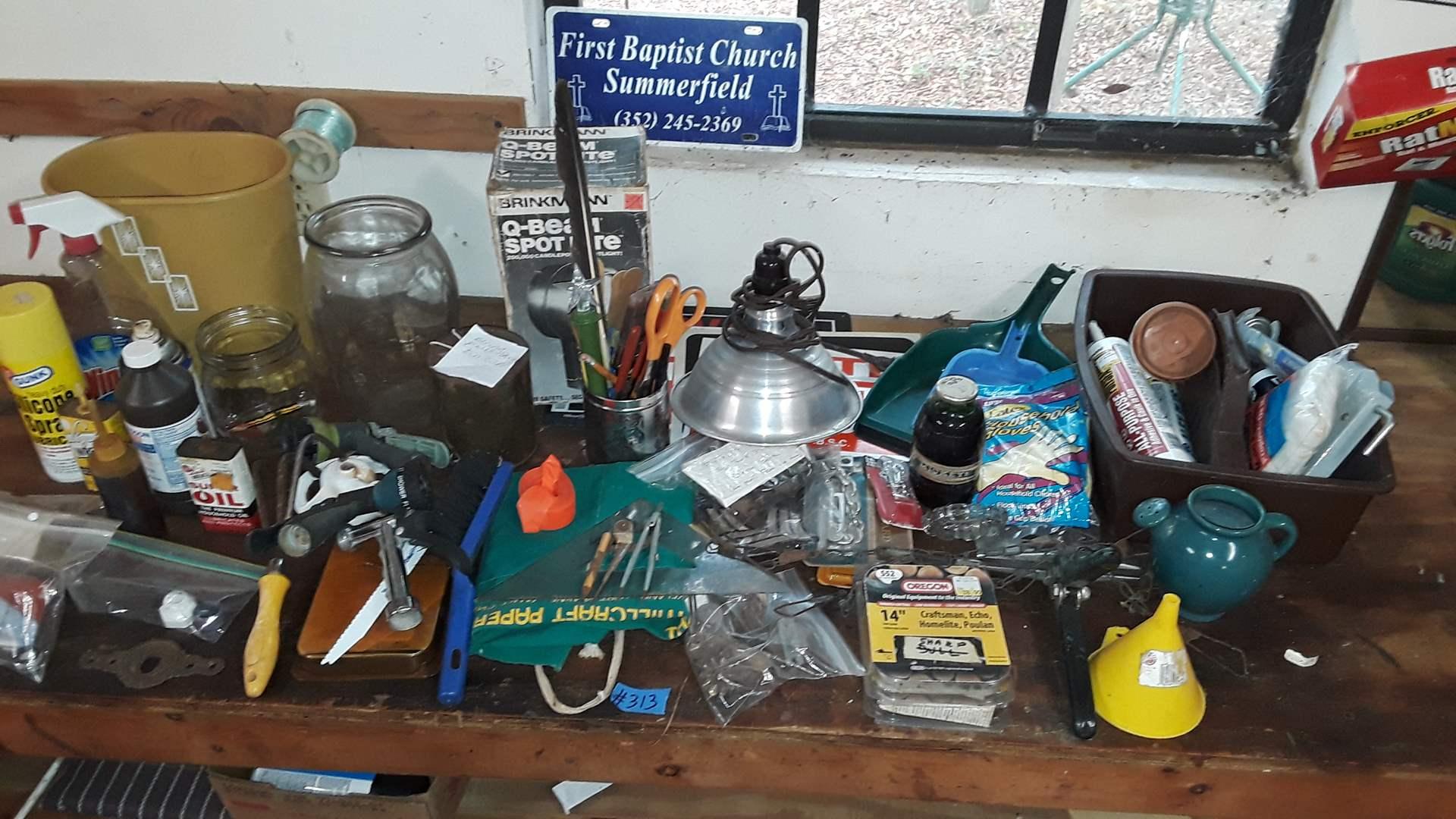 Lot # 313 GARAGE ITEMS, Q BEAM SPOTLIGHT, PATCHES , MISCELLANEOUS