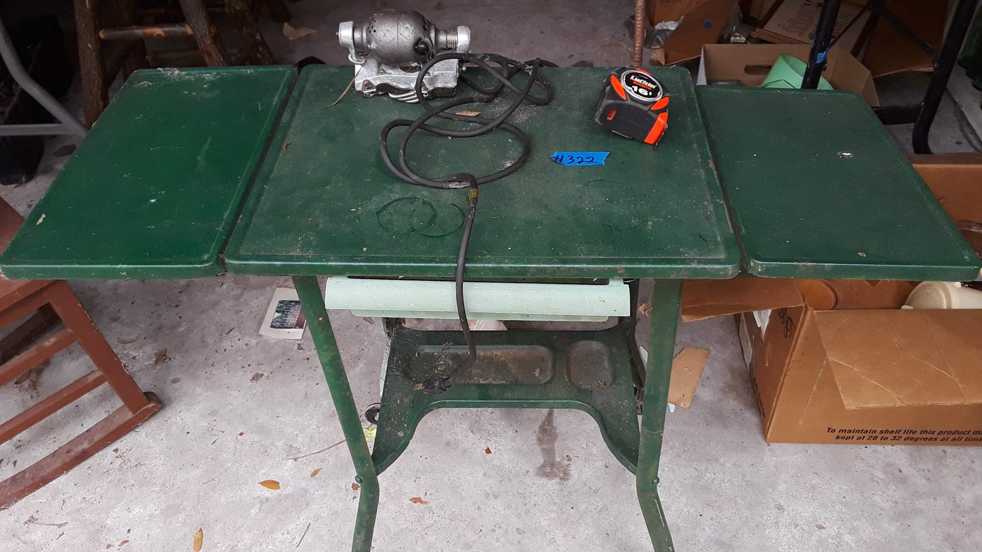 Lot # 322 ANTIQUE METAL WORK TABLE WITH DROP LEAVES, ANTIQUE OSTER MASSAGER