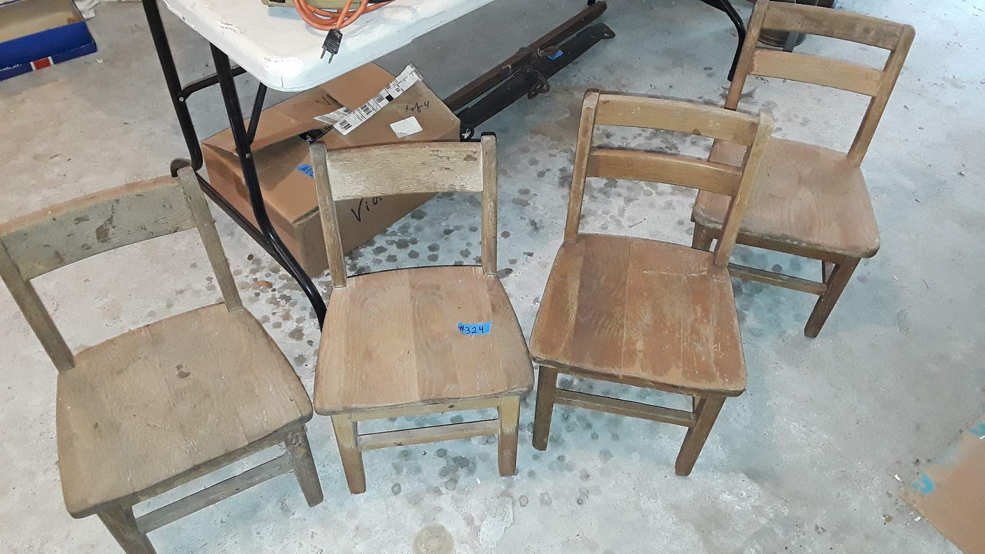 Lot # 324 - 4 ANTIQUE WOOD CHILDRENS CHAIRS, TWO OF EACH