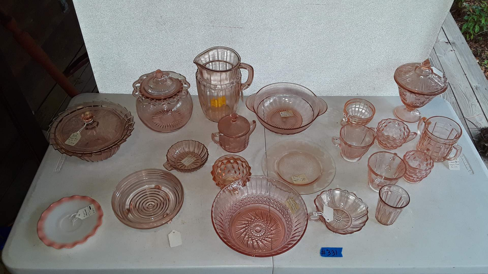 Lot # 331 ANTIQUE PINK DEPRESSION GLASS, THISTLE, CORRANATION, SHARON AND OLD COLONY COOKIE JAR
