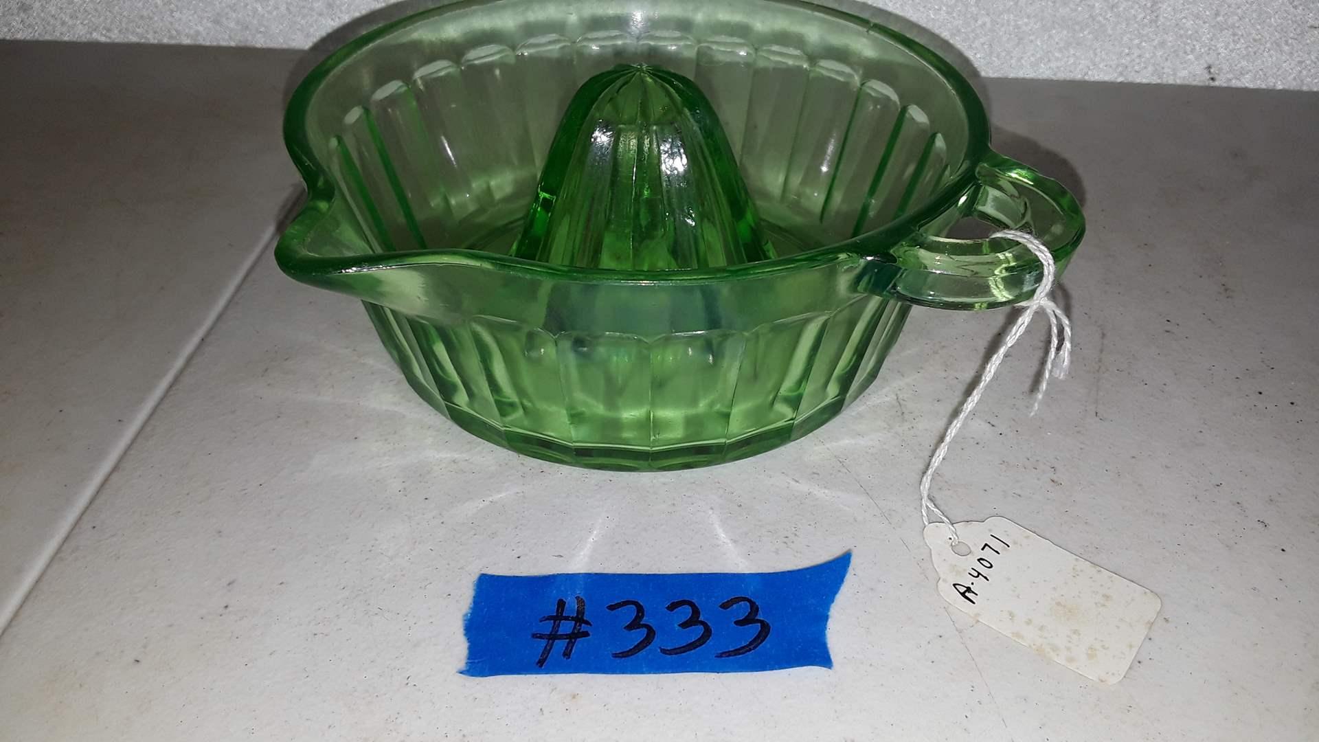 Lot # 333 ANTIQUE GREEN GLASS REAMER