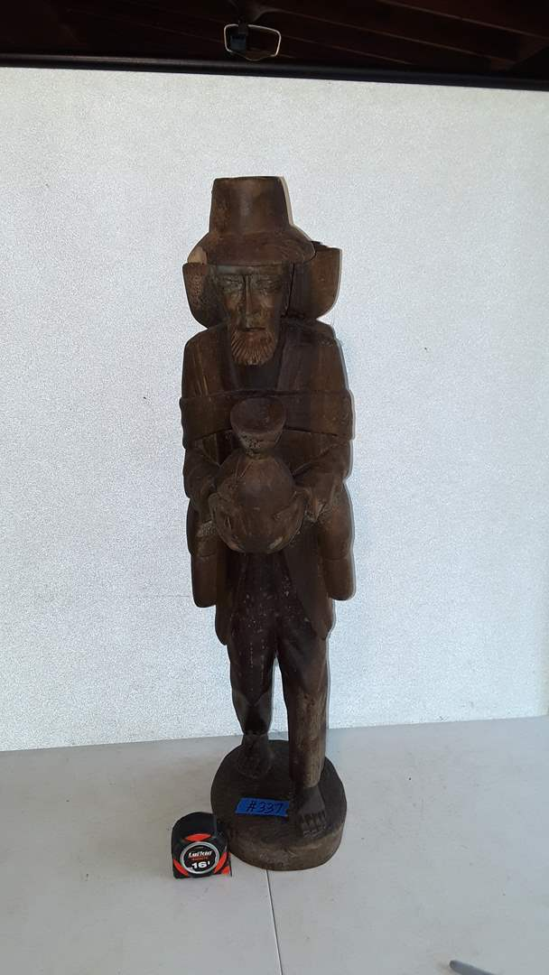 """Lot # 337 WOOD CARVING, TRAVELING MAN, 32"""" TALL"""