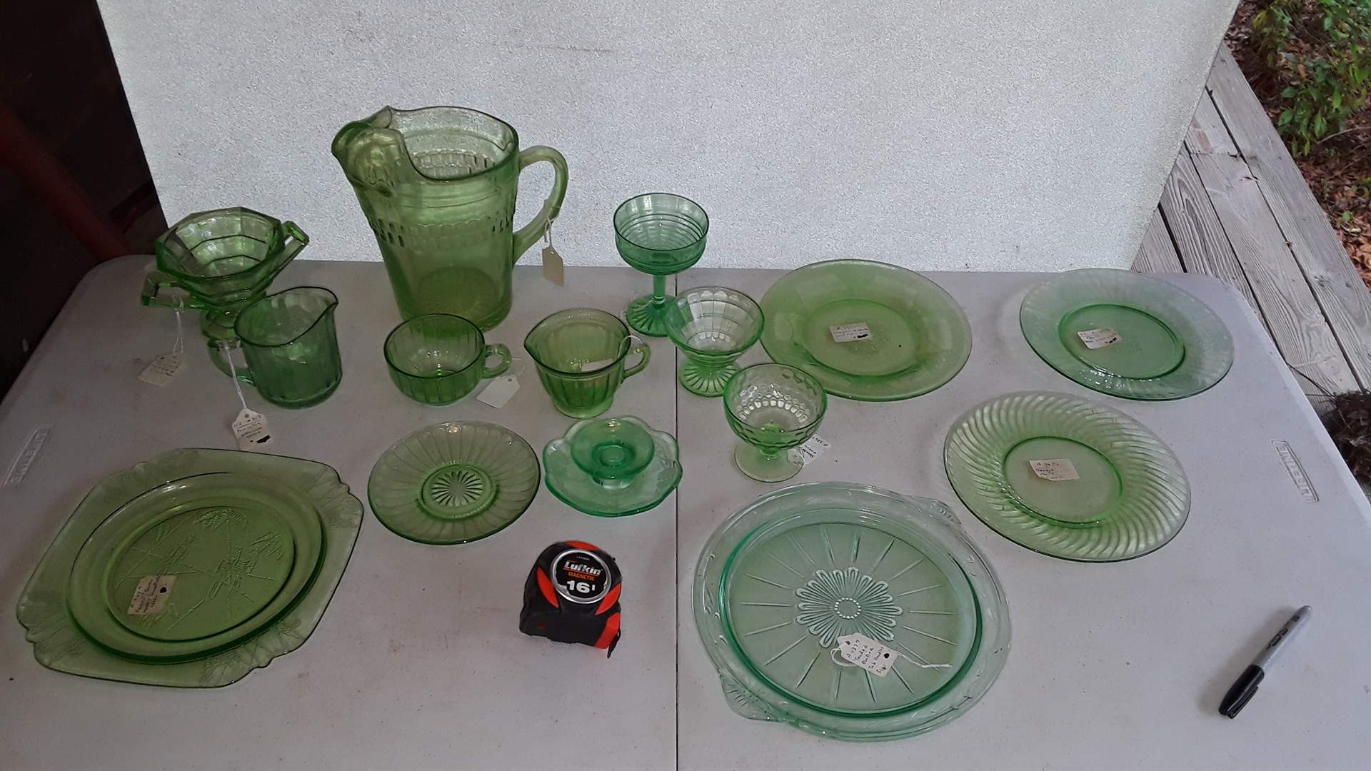 Lot # 339 GREEN DEPRESSION GLASS, ROULETTE PITCHER, TENDRIL PLATTER,  GEORGIAN LOVEBIRDS, SYLVAN PARROTS