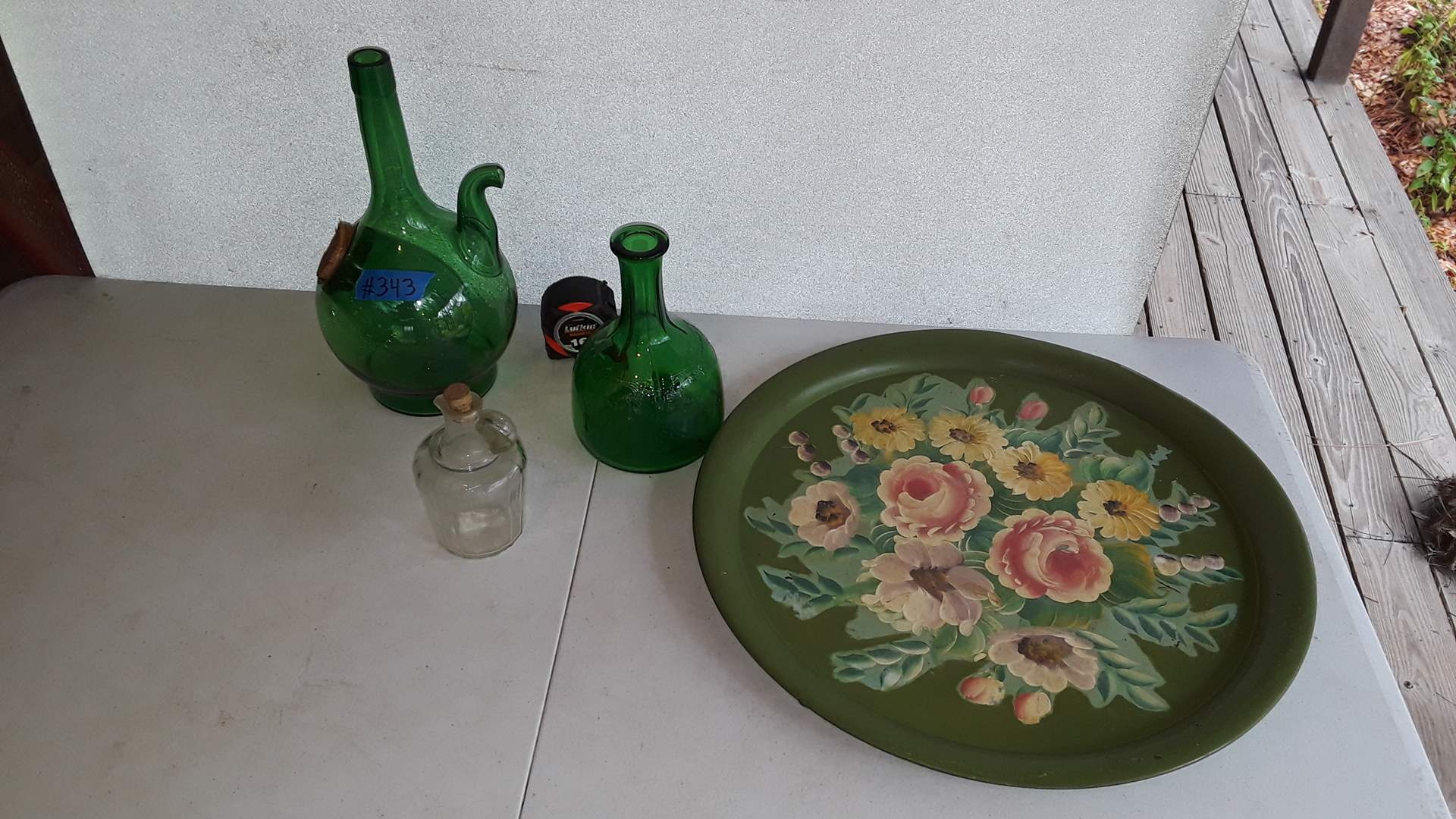 Lot # 343 ANTIQUE GREEN GLASS PITCHER WITH ICE COMPARTMENT AND HAND PAINTED METAL TRAY