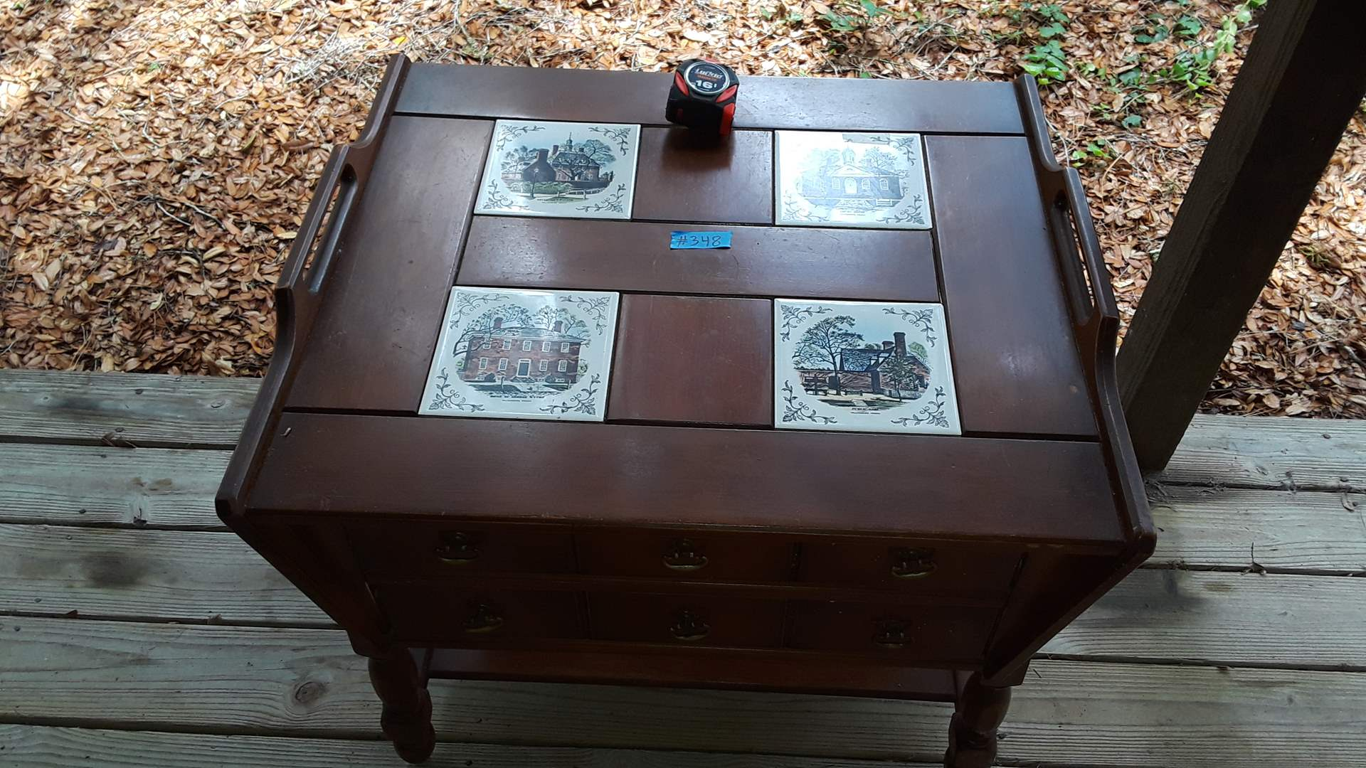 """Lot # 348 VINTAGE WOOD END TABLE WITH TWO DRAWERS 24"""" X 28"""" AND 24"""" TALL"""