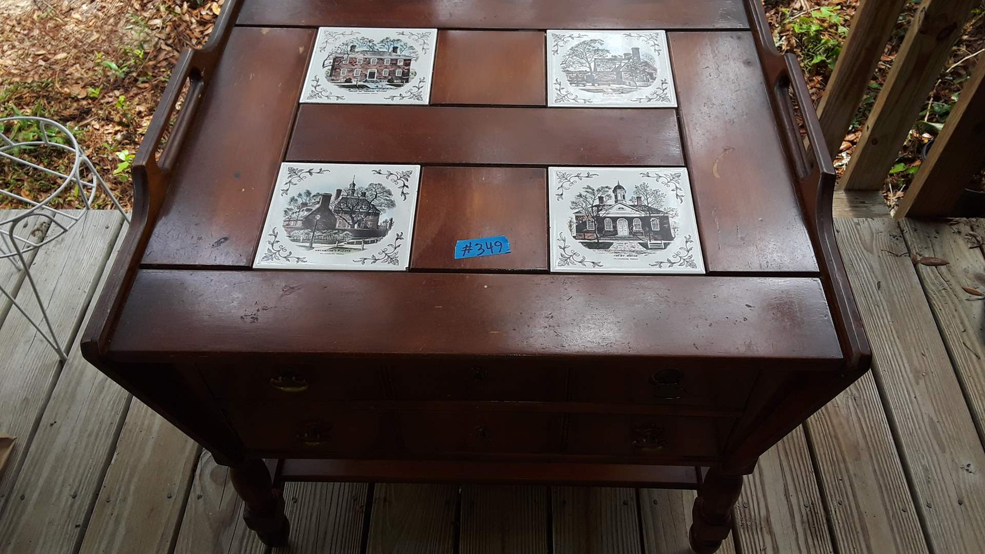 """Lot # 349 VINTAGE WOOD END TABLE WITH TWO DRAWERS, 28"""" X 24"""" AND 24"""" TALL"""