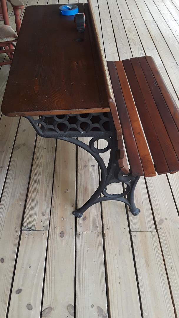 """Lot # 350 SHERWOOD SCHOOL FURNITURE CO BENCH WITH DESK BEHIND, 42"""" WIDE, BENCH FOLDS UP, GREAT CONDITION"""