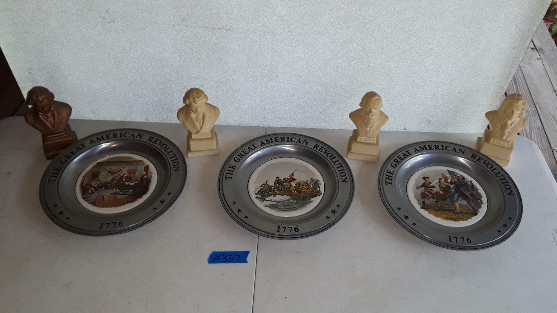 Lot # 357   - 3 PEWTER PLATES 1976, CANTON OHIO,  CERAMIC MUSICIAN BUSTS