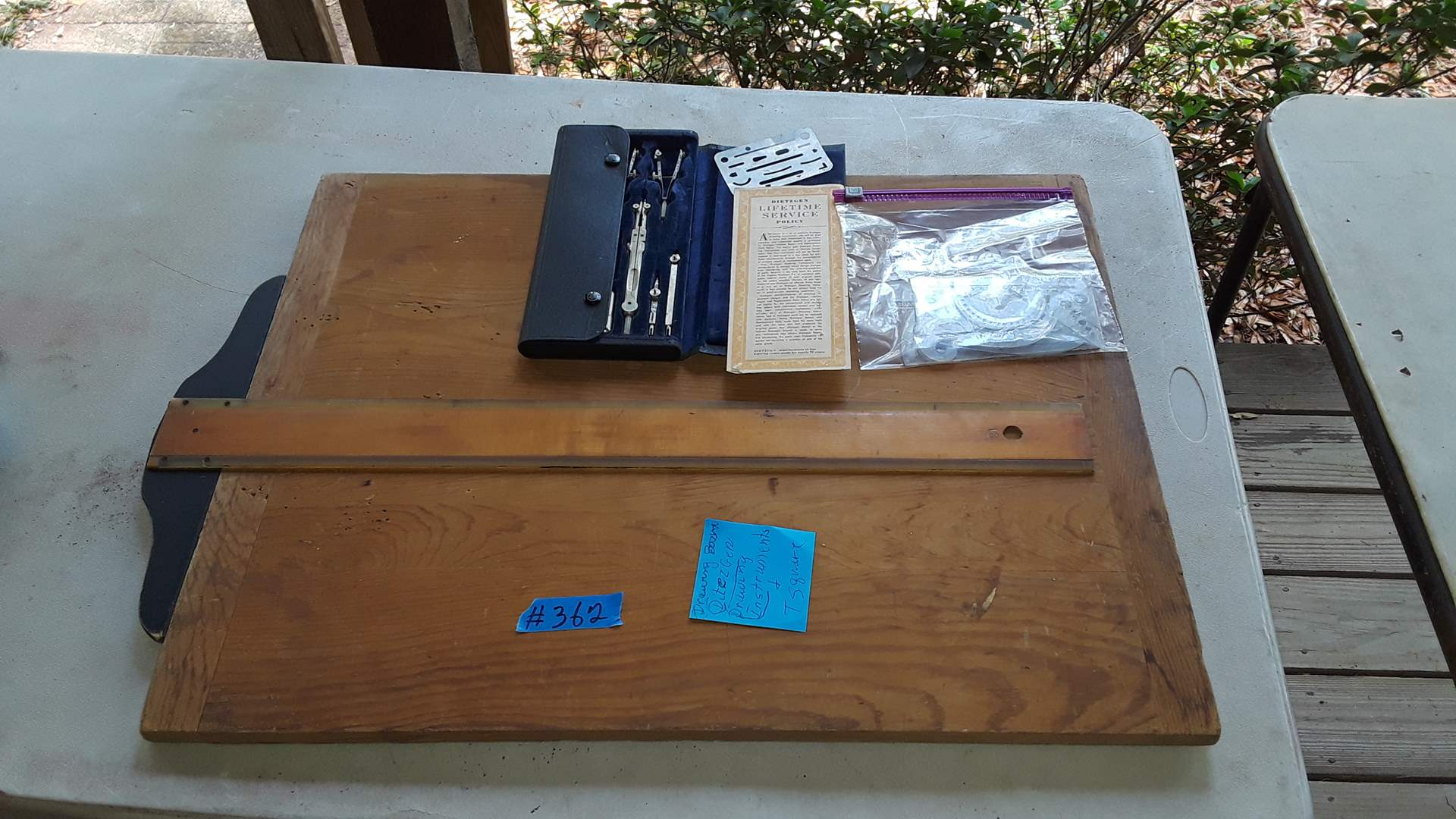 Lot # 362 ANTIQUE DRAWING BOARD WITH DIETZGEN TOOL SET