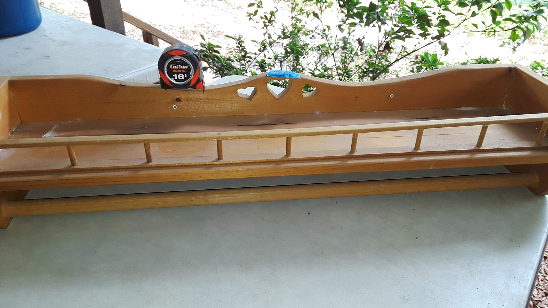 """Lot # 365 WOOD WALL SHELF WITH DOWEL FOR QUILT, 36"""" WIDE"""