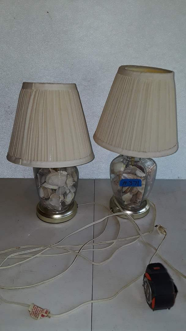 """Lot # 371 - 2 GLASS LAMPS WITH SHELLS INSIDE, 15 1/2"""" TALL, WORKS"""