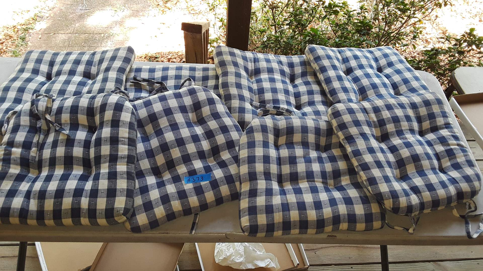 Lot # 373 - 8 BLUE AND WHITE CHAIR CUSHIONS
