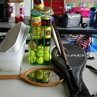 Auction Thumbnail for: Lot #173 Head Racket and Case, Tennis Racket Mirror, Tennis Balls, Tennis Ball Carrier, and Containers