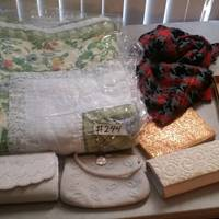 Auction Thumbnail for: Lot #244 Quilt, Purses, Gloves, and Scarf