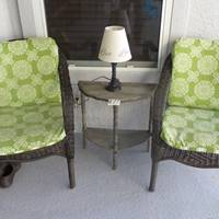 Auction Thumbnail for: Lot #77 Two Patio Chairs, Table, and Lamp