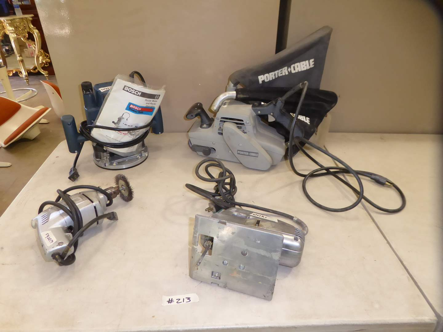 Lot # 213 - Small Power Tools -  Router, Sabre Saw & Belt Sander  (main image)