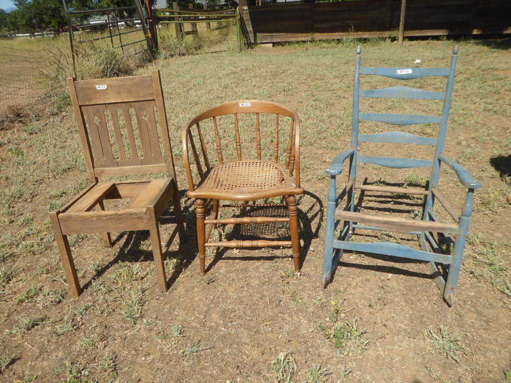 Lot # 52 - Three Vintage Wooden Chairs for Restoration (main image)