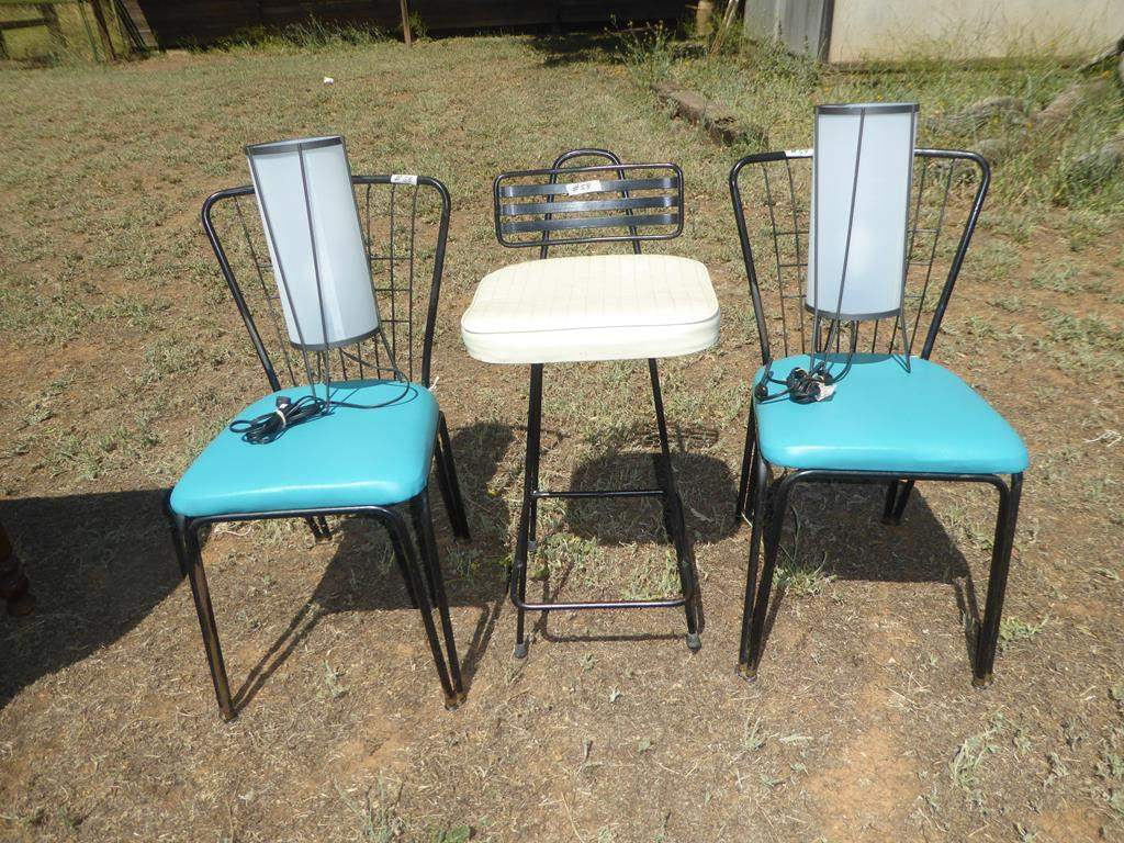 Lot # 58 - Mid Century Pair Metal Vinyl Seated Chairs & Bar Stool & Pair Modern Lamps (main image)