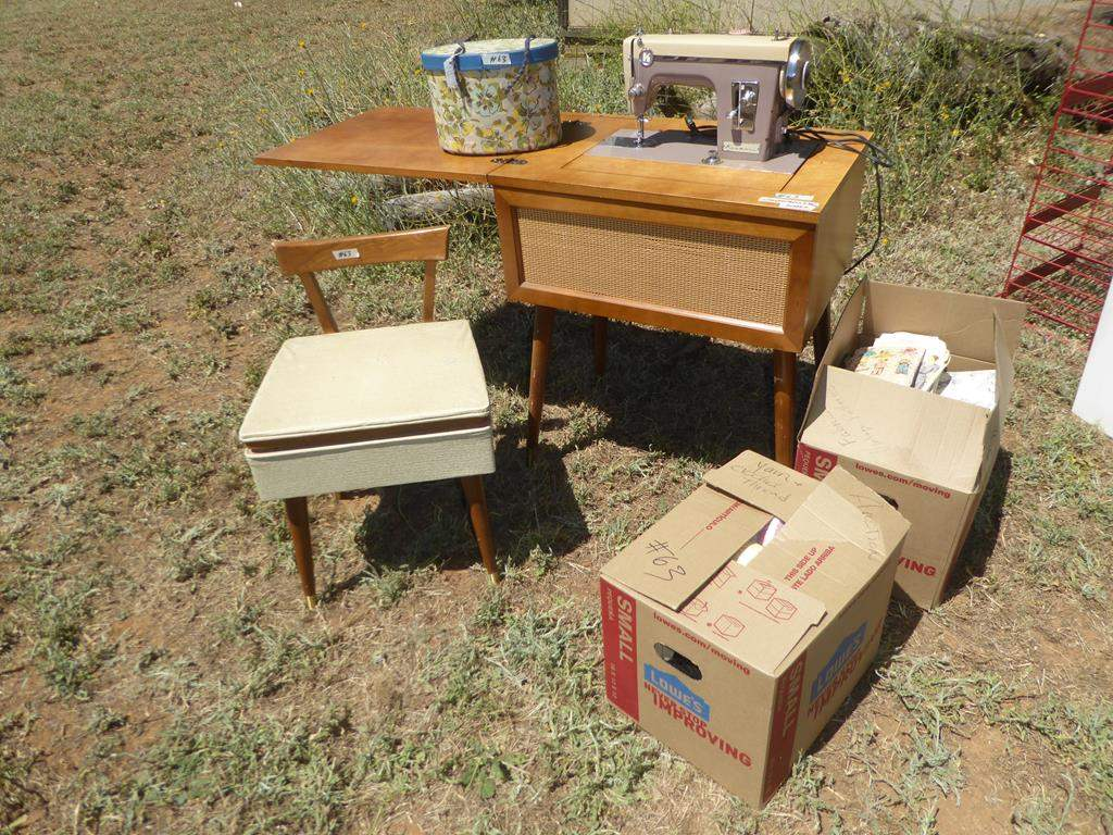 Lot # 63 - Vintage Kenmore Stylist 86 Sewing Machine in Cabinet, Sewing Supplies & Fabric (main image)