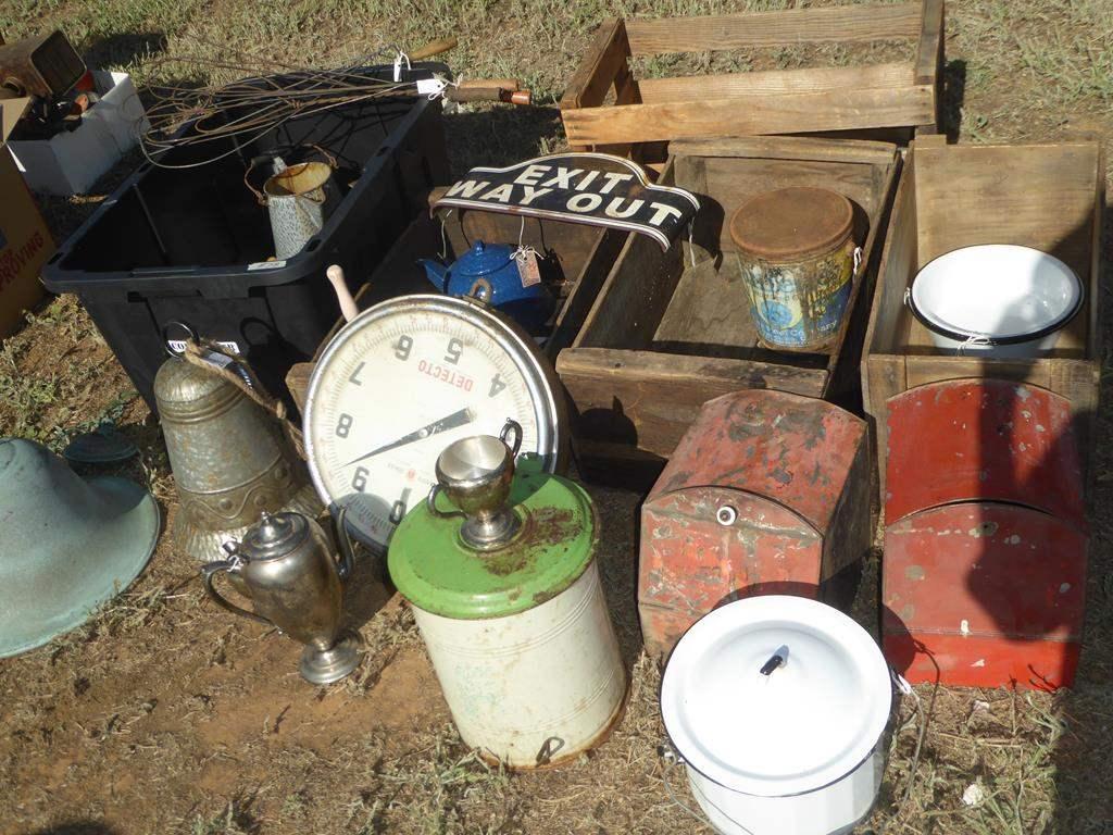 Lot # 78 - Vintage Variety Lot & Wood Crates (main image)