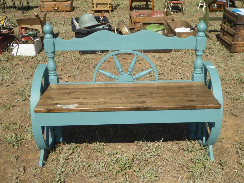 Lot # 85 - Wooden Western Wagon Wheel Style Bench (main image)