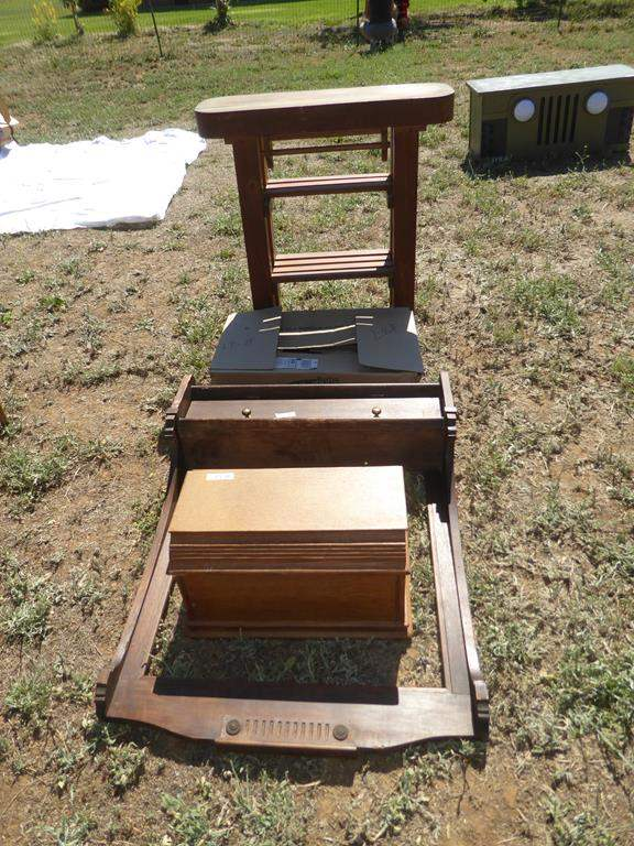 Lot # 87 - Small Wooden Kitchen Prep Table, Old Piano Keys, Wooden Sewing Machine Cover & Antique Wooden Mirror Frame  (main image)