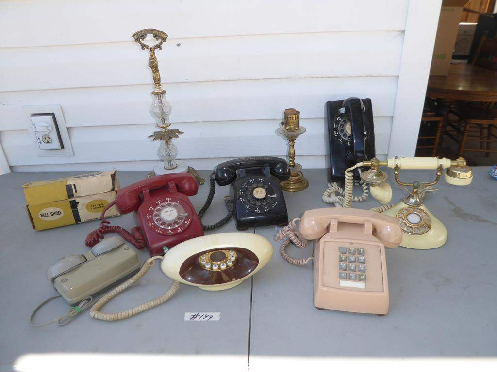 Lot # 149 - Vintage Bell Chimes & Telephones (main image)