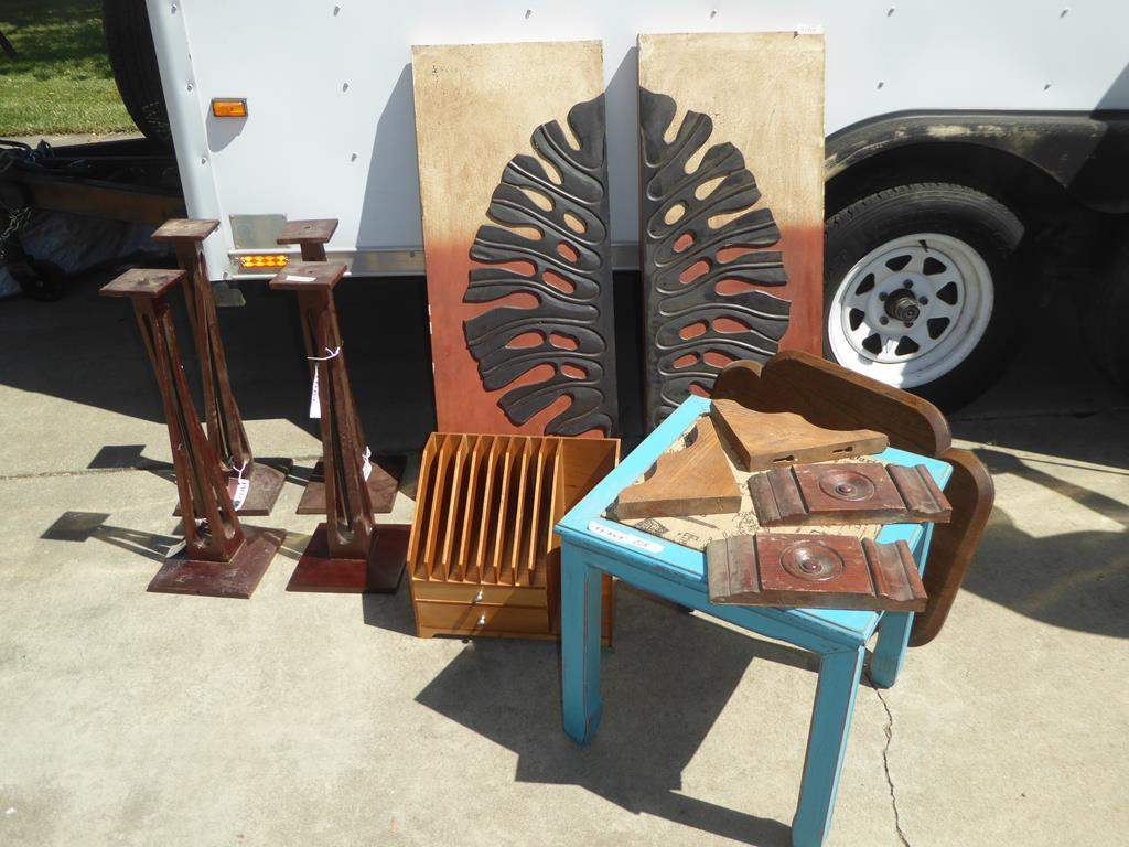 Lot # 205 - Wooden Table Legs, Small File Box, 2 Piece Mixed Media Print, Paris Upholstered Wooden End Table & Table Top (main image)