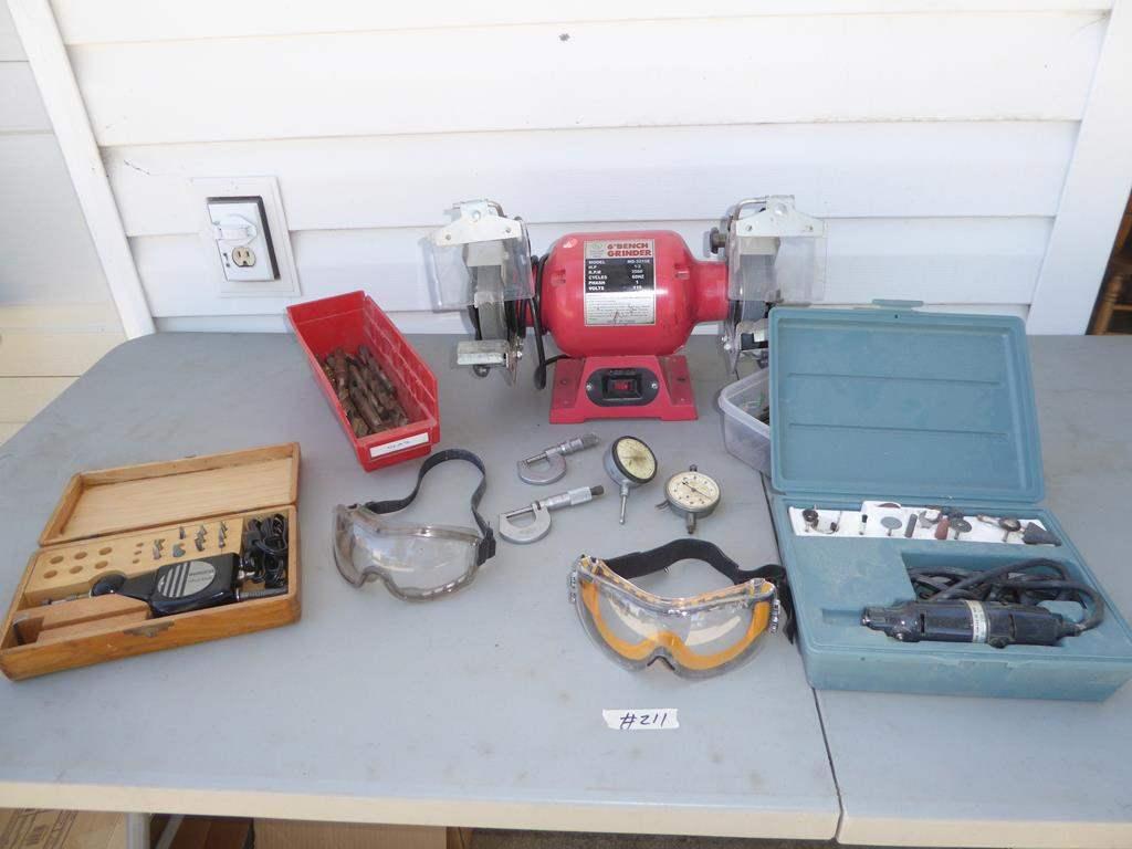"Lot # 211 - 6"" Bench Grinder, Burgess Vibro Tool, Drill Bits, Micrometers, Gauges, Files & Dremel (main image)"