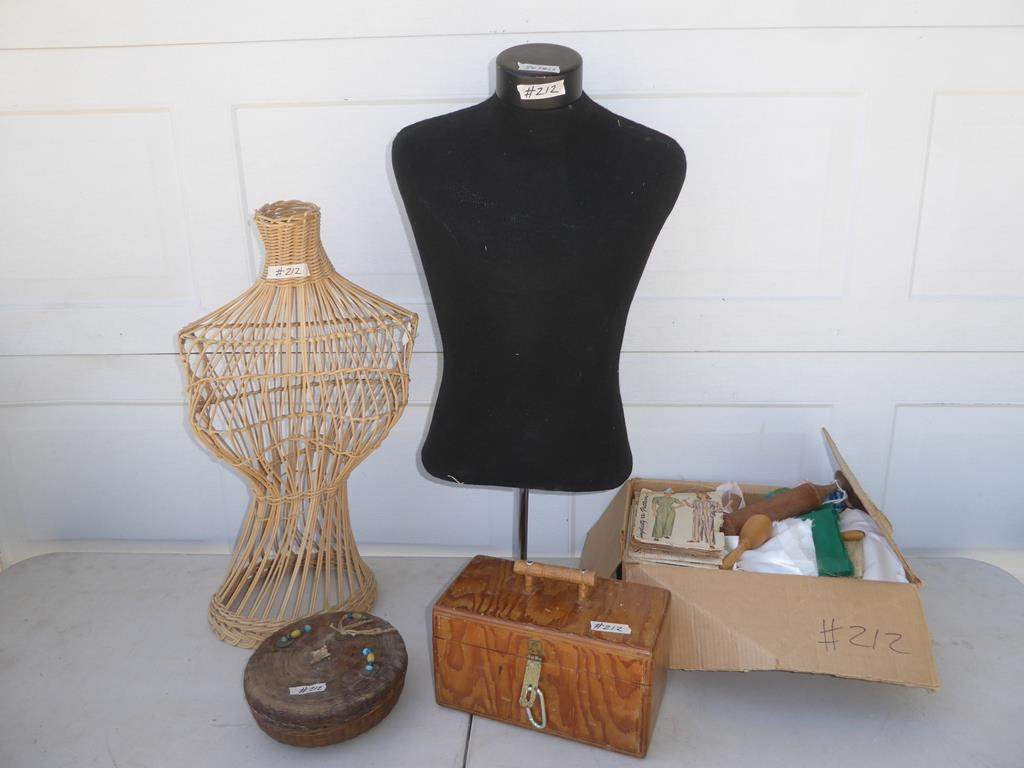Lot # 212 - Wicker & Fabric Mannequin Busts, Buttons, Fabric & Patterns (main image)