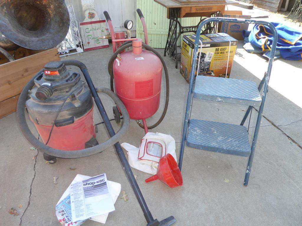 Lot # 233 - Shop Vac, Sand Blaster & Cosco Step Stool (main image)