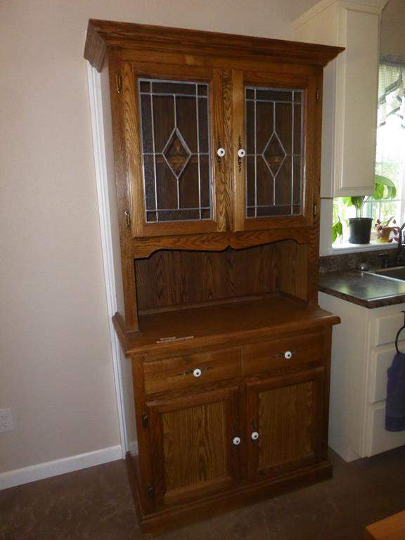 Lot # 251 - Wooden China Cabinet Hutch w/Leaded Glass Doors (main image)