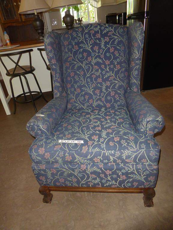 Lot # 264 - Vintage Floral Upholstered Wing Back Chair w/Wooden Claw Feet (main image)