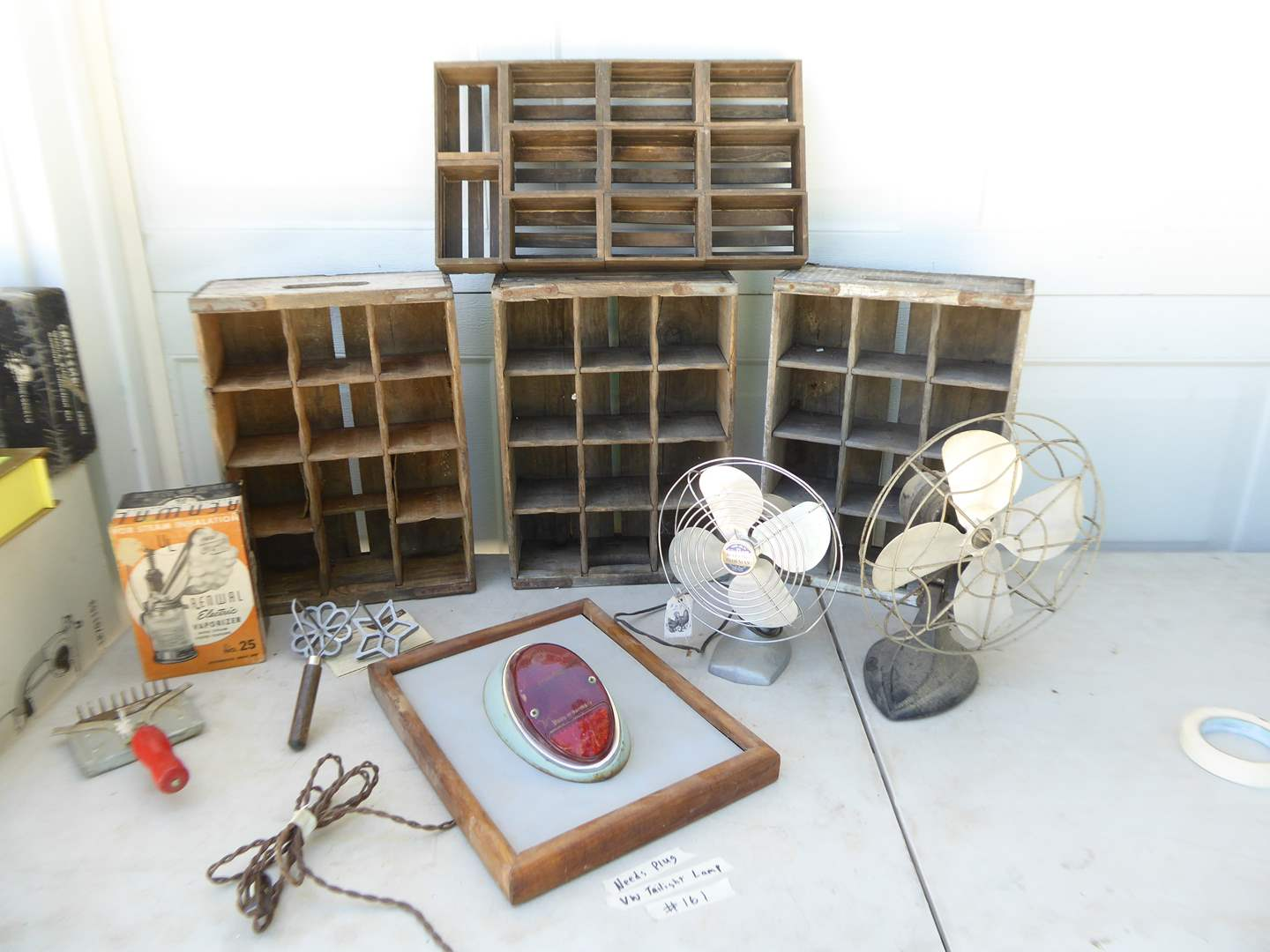 Lot # 161 - VW Taillight Lamp, Vintage Fans & 7Up Crates   (main image)