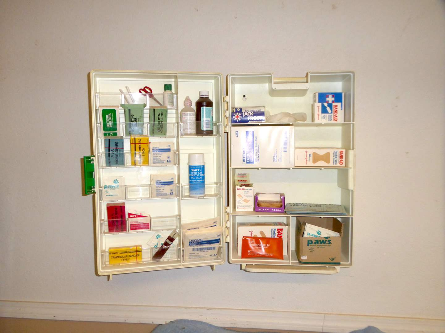 "Lot # 191 - ""ZEE"" First Aid Wall Box Filled W/Supplies  (main image)"