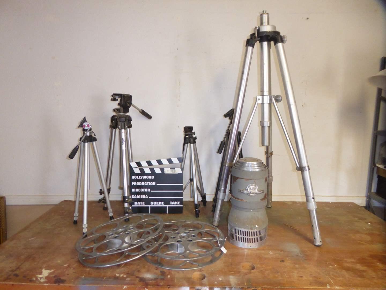 Lot # 193 - Vintage Movies Reels, Enlarger & Tripods  (main image)