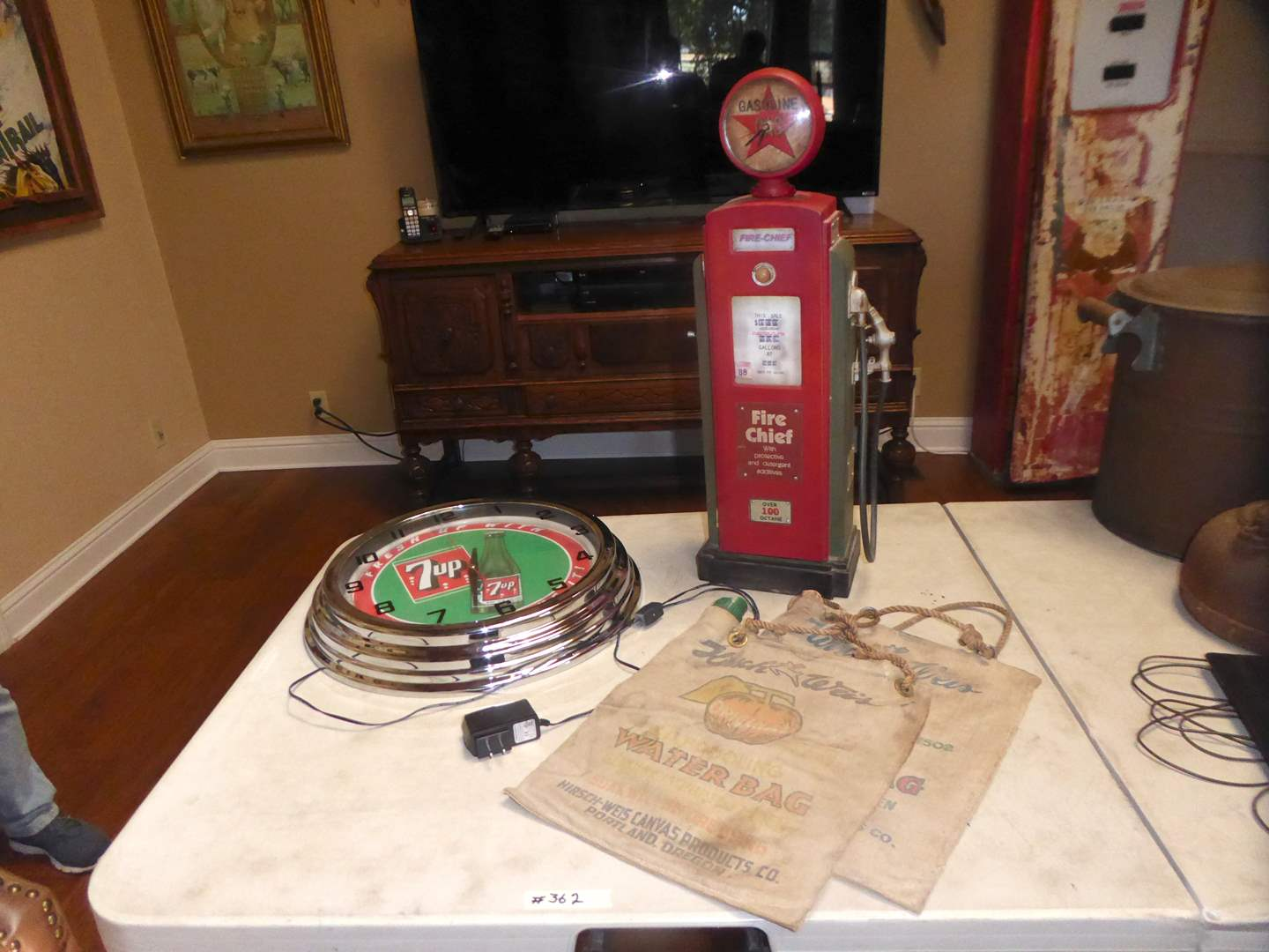 Lot # 362 - Small Cute Gas Pump Novelty Cabinet, Neon 7-Up Clock & Water Bags  (main image)