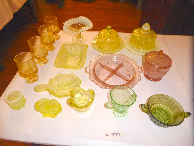 Lot # 377 - Antique Yellow Vaseline Ware, Depression/Carnival Glassware (main image)