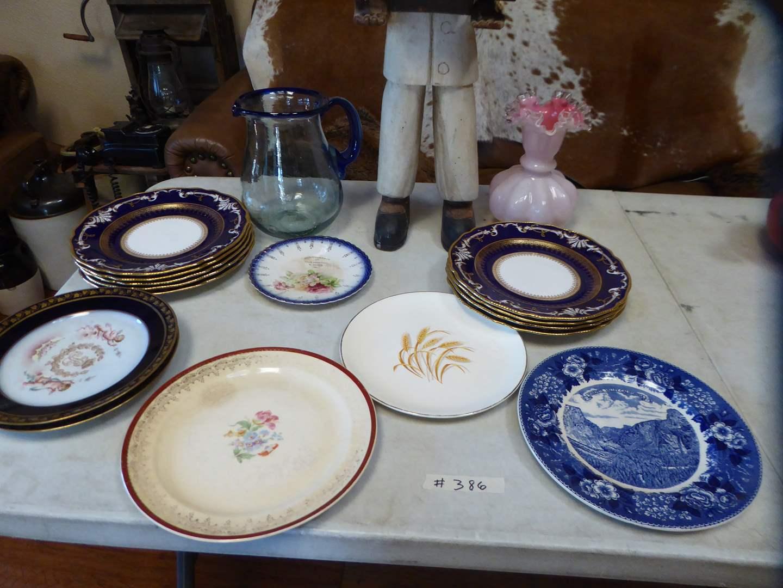 Lot # 386 - Vintage Plates, Vase, Pitcher & Wooden Statue   (main image)