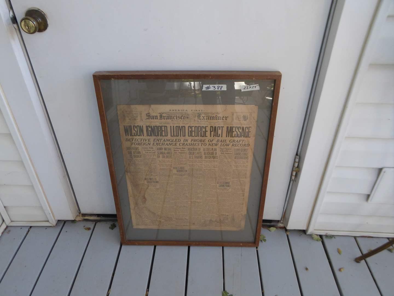 Lot # 388 - Framed San Francisco Examiner Newspaper Front Page (Feb 4th 1920) (main image)