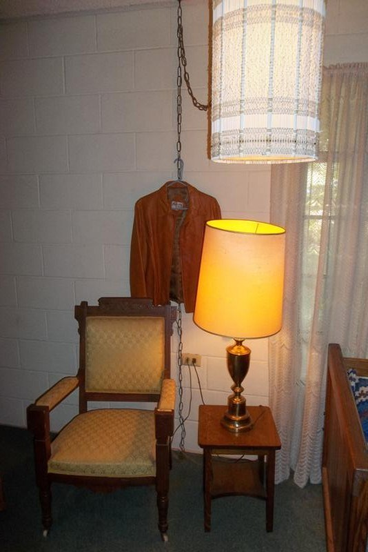 Lot #4 Antique Eastlake Chair, Small Wood End Table, Lamp & Vintage Hanging Swag Lamp (main image)